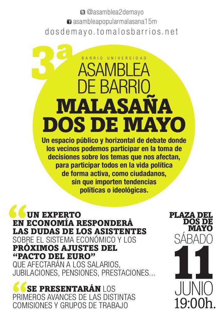 Asamblea del Dos de Mayo, sábado 11 a las 19h